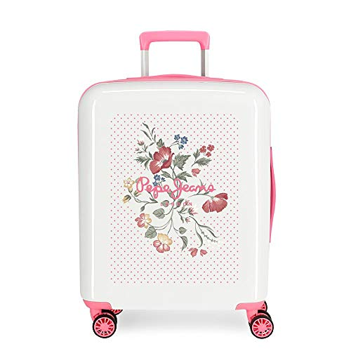 Pepe Jeans Estela White Cabin Suitcase 40 x 55 x 20 cm Rigid ABS Integrated TSA Closure 38.4 L 2 kg 4 Wheels Double Hand Luggage