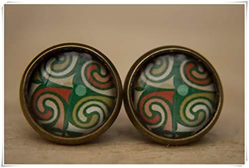 Pendientes verdes, pendientes verdes, pendientes medievales, pendientes de cúpula de cristal, pendientes de poste, pequeños tachuelas
