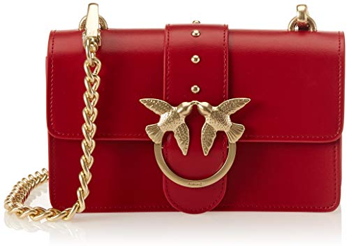 Pinko Mini Love Simply Tracolla Vitello Seta, Borsa a spalla Donna, (Rosso Jolly), 7x14x23 cm (W x H x L)