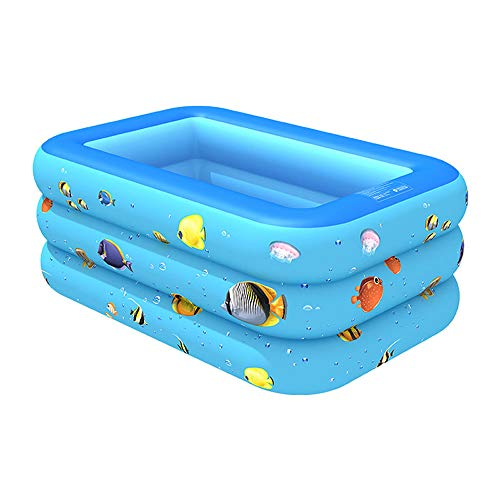 SNOWER Inflatable Swimming Pools, Bathtub Children's, Family Pool, Swimming Center for Children, Babies, Toddlers, Adults, Outdoor, Garden, Garden,Blue,210X135X55cm