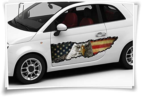 Medianlux Auto-Aufkleber Seitenstreifen USA Amerika Flagge Adler Pick-Up Airbrush Folie Tuning