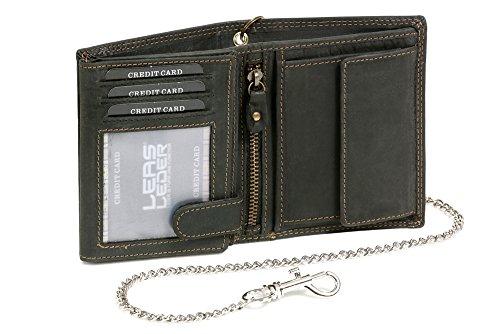LEAS MCL RFID Bikerkombibörse im Hochformat mit Chrom-Kette Vintage-Stil in Echt-Leder, schwarz - LEAS Chain-Series