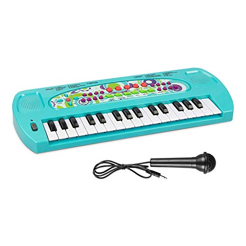 AIMEDYOU Kids Piano Keyboard 32 Keys Portable Electronic Musical Instrument Multi-Function Keyboard Teaching Toys Birthday Christmas Day Gifts for Kids (Blue)