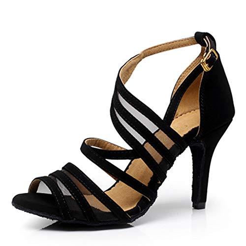 """Dress First Ballroom Dance Shoes Women 2.3"""" Dancing High Heel Salsa Shoe Latin Sandal Pumps Black"""