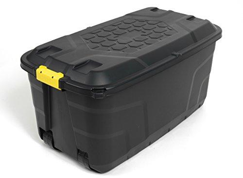 XXL Transportbox / Kissenbox mit 145 Liter Fassungsvermögen und vier Rollen! Abnehmbarer und abschließbarer Deckel, Nässe-geschützt und in robuster Ausführung! 93 x 53 x 46 cm!