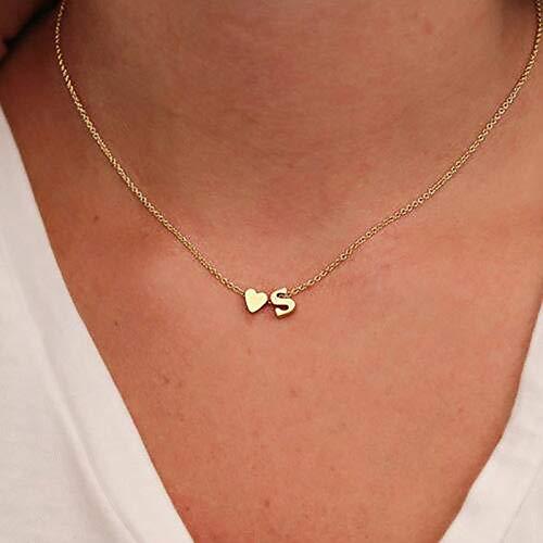 Moda Tiny Heart Dainty Initial Cute Lovely Letter Name Collar de Cadena para Mujer Colgante Gargantillas Accesorios Regalo, Plata, C