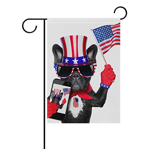 Vantaso Garden Flag Decorative French Bulldog with American Hat and Flag Polyester Double Sided Printing Fade Proof for Outdoor Courtyards Garden 12x18 inch