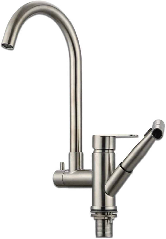 Küchenarmaturen, Auslauf Leistungsstarker Wasserdurchfluss Einlochmontage Einhebelmischer aus Edelstahl SUS 304