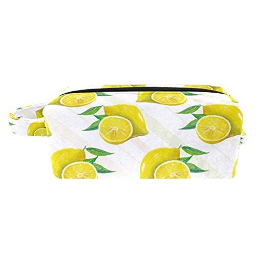 Kulturtasche für Damen - Waschbeutel Kosmetiktasche mit für Reisen, Urlaub, Outdoor Sommerfrucht-Zitronen-Schnittmuster