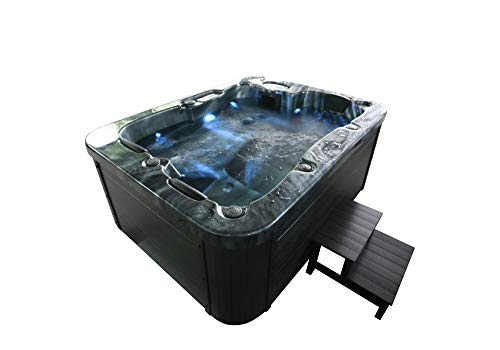 Home Deluxe - Outdoor Whirlpool für 4 Personen, 27 Massagedüsen und 9 Lichtquellen - Black Marble- Maße 210 x 160 x 85 cm | Jacuzzi, Außen Whirlpool (Black Marble Plus Treppe und Thermoabdeckung)