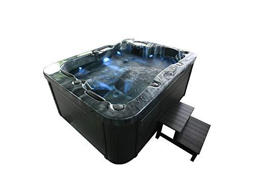 Home Deluxe - Outdoor Whirlpool Komplettset für 4 Personen inkl. Einstiegsleiter und Thermoabdeckung - Black Marble - Maße 210 x 160 x 85 cm | Jacuzzi, Außen Whirlpool