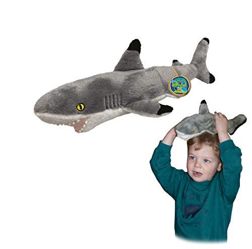 Juguete Suave del tiburón de EcoBuddiez Blacktip, Medio (los 44cm) - Juguete Suave y mimoso de la Felpa de Deluxebase. Hecho de Las Botellas plásticas recicladas. Regalo mimoso niños