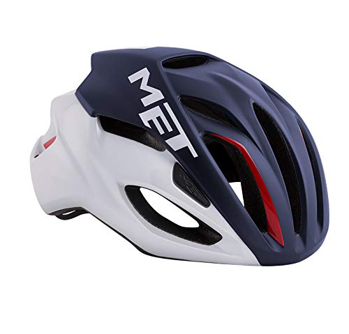 メット リヴァーレ HES ミッドナイトブルー×ホワイト×レッド ヘルメット M(54/58cm)