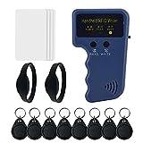 Duplicador de tarjetas RFID de mano de 125 khz para control de acceso de puerta + 8 etiquetas de llavero T5577 + 2 pulseras RFID T5577 + 4 tarjetas RFID T5577