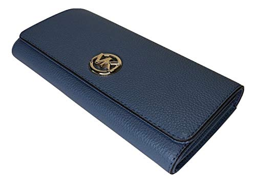 MICHAEL Michael Kors Fulton Flap Continental Clutch Wallet Beautiful pebbled leather with polished gold or silver tone hardware Flap style snap closure on the front and open slip pocket on the back Zippered coin compartment and 6 credit card slots, 4...