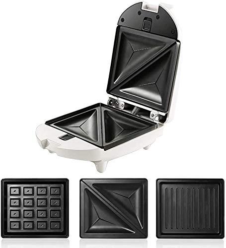 ZSMLB Tostadora para sándwiches, Mini waflera 3 en 1, Parrilla de presión, máquina para Hacer sándwiches, Placas de Revestimiento Antiadherente Profundo, 450 W, Control automático de Temperatura,