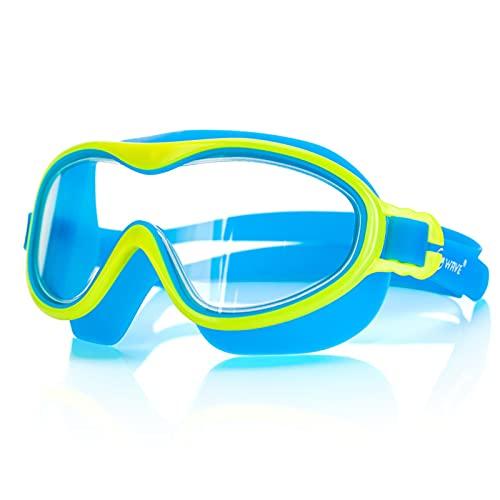 Halllo Gafas de natación para niños con diseño de gran versión, protección UV, no gotean, antiniebla, cómodas de llevar, duraderas para el verano.