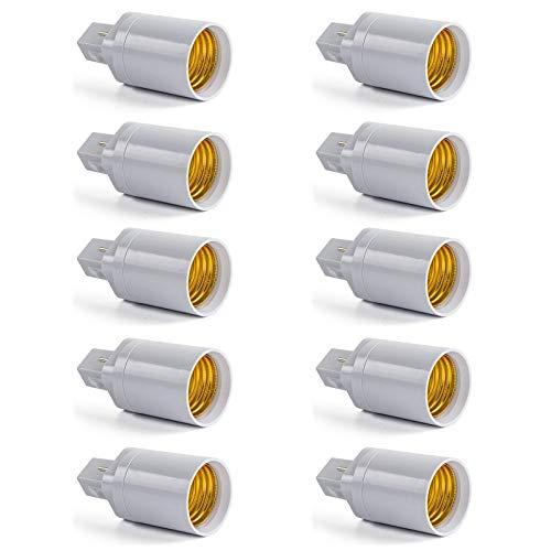 Bombillas Base Adaptador, ATCD Adaptador de Bombilla G24 a E27, Adaptador de Casquillo de Bombilla Apto para Bombillas LED y Bombillas Incandescentes de Dentro de 100W - (Pack de 10)