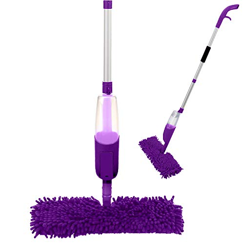 ANSIO Spray Mop Microfibre Floor Mop with Spray Reusable Microfiber Pad (Machine Washable) and Refillable Bottle. Suitable for Wood, Vinyl, Marble, Tiles and Laminate Floor Cleaning -Purple