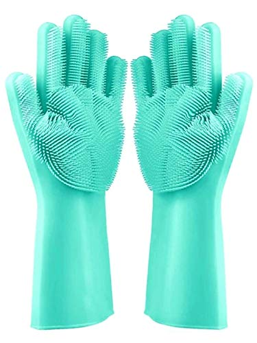SHOPTOSHOP Magic Silicone Gloves with Wash Scrubber, Reusable Brush Heat Resistant Gloves Kitchen Tool for Cleaning, Dish Washing, Washing The Car, Pet Hair Care - 1 Pair (Multicolor)