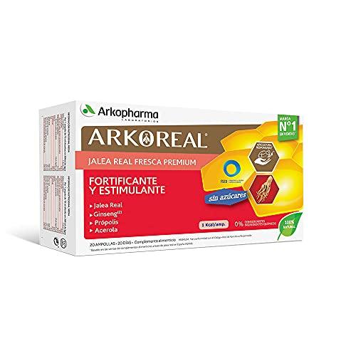 Arkopharma Arkoreal Jalea Real Ginseng Sin Azúcares 20 Ampollas |Plus de Energía | Recuperación Rápida | Multiplica x 2 Tu Resistencia | Complemento Alimenticio