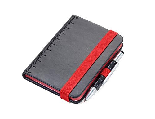 TROIKA LILIPAD+LILIPUT NPP25BK RD Taccuino DIN A7 con penna a sfera Portapenne Notebook, diario, taccuino Elastico Righello (10 cm) Carta FSC, perforato, a pois