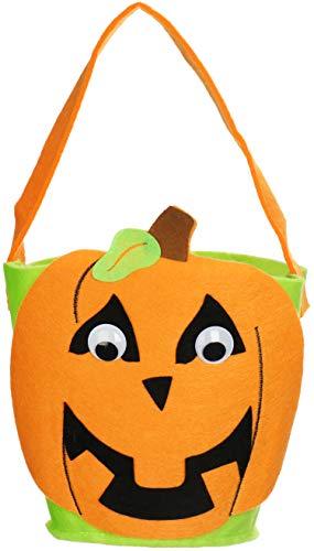 COM-FOUR® Halloween-tas - tas voor het verzamelen van snoep op Halloween - verzamelzak met pompoenmotief (1 stuk - vilt mand pompoen)