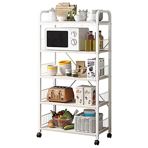 Mueble Microondas Carrito de microondas para estantes de cocina- Rack de 5 niveles de almacenamiento Microondas Soporte de microondas en ruedas Estante del horno para el almacenamiento de cocina Orga