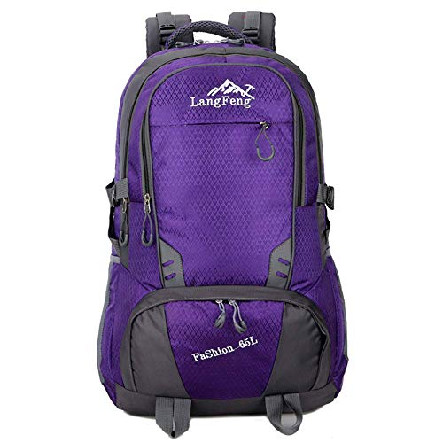 65L Casual Sport Hiking Backpack, Multi-Functional Water-Resistant Outdoor Traveling Trekking Rucksack Camping Cycling Climbing Mountaineer Daypack for Men Women,Green GAGEAA (Color : Purple)