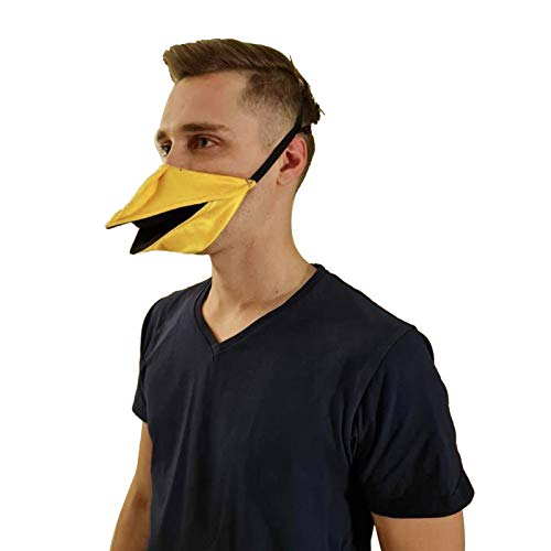 Duckbill Mask Handmade Duck Mask, Talking Face Cover Open and Close (Yellow)