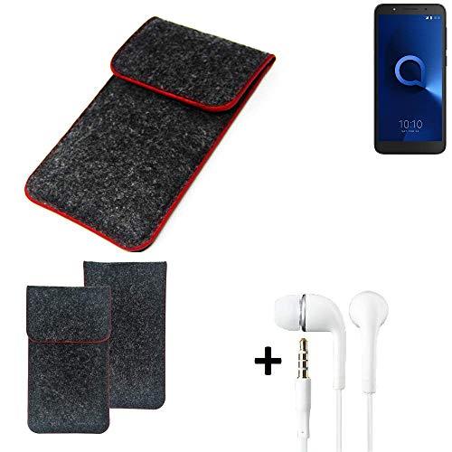 K-S-Trade® Handy Schutz Hülle Für Alcatel 1C Dual SIM Schutzhülle Handyhülle Filztasche Pouch Tasche Case Sleeve Filzhülle Dunkelgrau Roter Rand + Kopfhörer