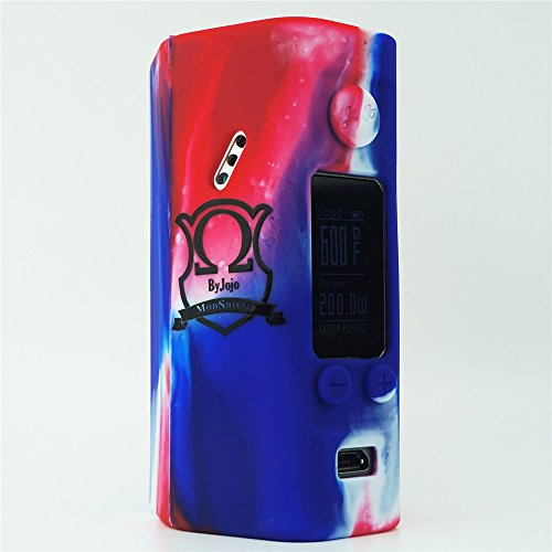 Silicone Case for Wismec Reuleaux RX200S MOD SHIELD ByJojo Skin RX 200 S Sleeve Cover Wrap (RED/White/Blue)