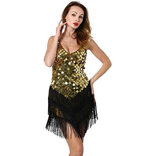 SWNN Dress Traje De Baile Latino, Sexy Vestido De Deslizamiento con Lentejuelas Borla Sin Mangas Sin Espalda Azul Oro Astilla (Color : Gold, Size : Free Size)