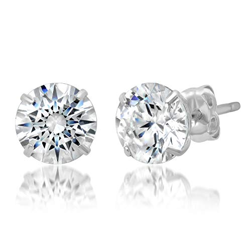 14k Solid White Gold ROUND Stud Earrings with Genuine Swarovski Zirconia | 20 CTTW | With Gift Box
