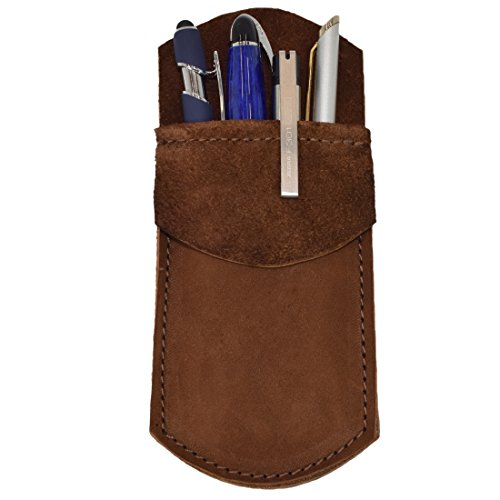 Hide & Drink, Durable Leather Pocket Protector, Pencil Pouch, Pen Holder, Office & Work Essentials, Handmade Includes 101 Year Warranty :: Swayze Suede