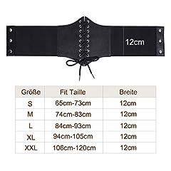 Women's Black Lace-up Corset Elastic Wide Belt, Tied Waspie Waist Belt for Women by JASGOOD #4