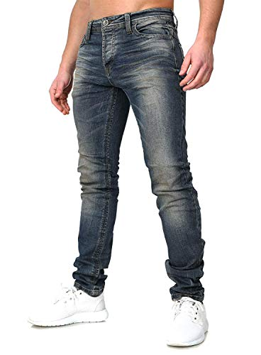 KINGZ Stylische Designer Jeans blau Strass Nieten Used Look Destroyed Vintage Washed blau W33/L34