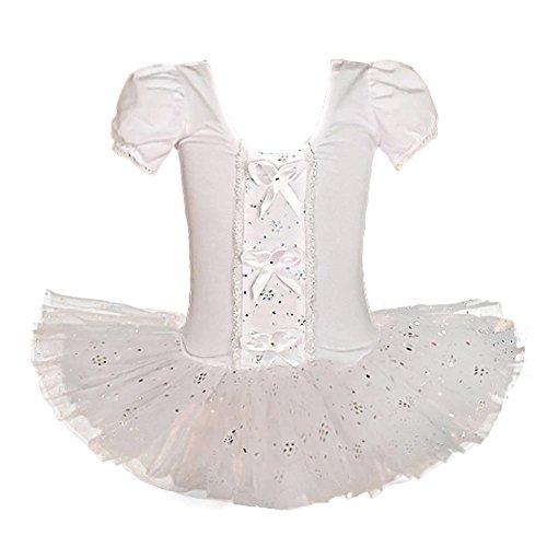 Lito Angels Mädchen Ballett Tutu Ballerina Tanzkleidung Tanzkostüm Kostüm Gymnastikanzug Gr. 2-3 Jahre, weiß