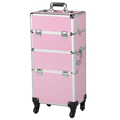 Yaheetech Kosmetikkoffer groß Friseurkoffer Alu Schmuckkoffer Beautycase Koffer Trolley mit Schlösser und Tragegurt