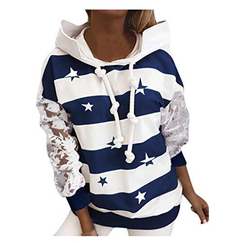 KissYou Hoodies FüR Frauen, Damen Langarm Bedruckte Sweatshirts Teen Girls Casual Hooded Pullover Tops(#08,XL)