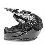 ZYTGTB Nueva Fibra de Carbono Flip Up Racing Helmet Modular Dual Lens Casco de Motocicleta Cascos Seguros de Cara Completa,Lente Transparente Brillante,L