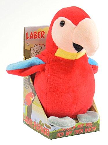 Kögler 75631 - Laber Papagei Paul, Labertier mit Aufnahme- und Wiedergabefunktion, plappert alles witzig nach und bewegt sich, ca. 17,5 cm groß, ideal als Geschenk für Jungen und Mädchen