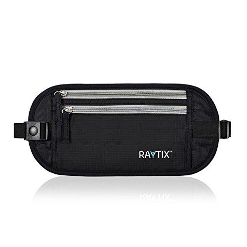Raytix Travel Money Belt With RFID Transmissions –Secure, Hidden Travel Wallet NEW STYLE (black)