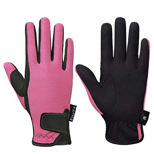 FitsT4 Grip Handschuhe Kinder Reithandschuhe Mädchen Jungen 5-14 Jahre für Reitsport, Radfahren, Gartenarbeit, in 3 Farben,rosa,m