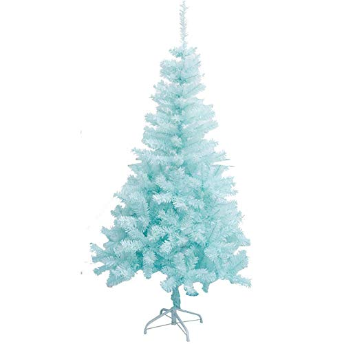 ZLJ 6ft Christmas Tree Solid Non-Illuminated Artificial Spruce Hinged Spruce Tree with Solid Metal Stand Eco-Friendly-Blue PVC Material Festive Decoration 6ft (180cm)