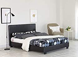 Faux leather bed frame in black, Elegant design will suit any bedroom interior. Upholstered in a soft faux leather - Stitched headboard - Sprung wood slats Padded headboard, sides and footboard for both comfort and styling, 4 corner legs and 3 center...