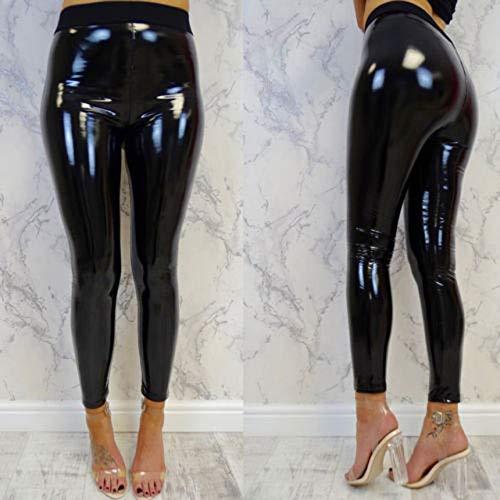 IHCIAIX Damen Lederhose,Mode Frauen sexy PVC-Look glänzend elastisch, Damen hohe Taille Bleistift Leggings, Schwarze schmale Hosen Jeans, Schwarz, S.