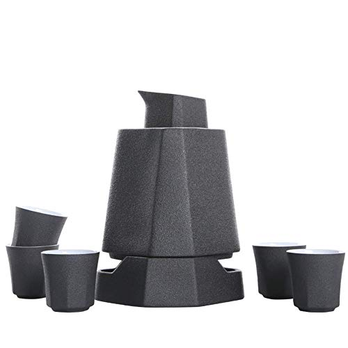 BBGSFDC Teiera, Set di Gare in Ceramica Giapponese con Sake Warmer Sake Pot, Blu (Color : Black)