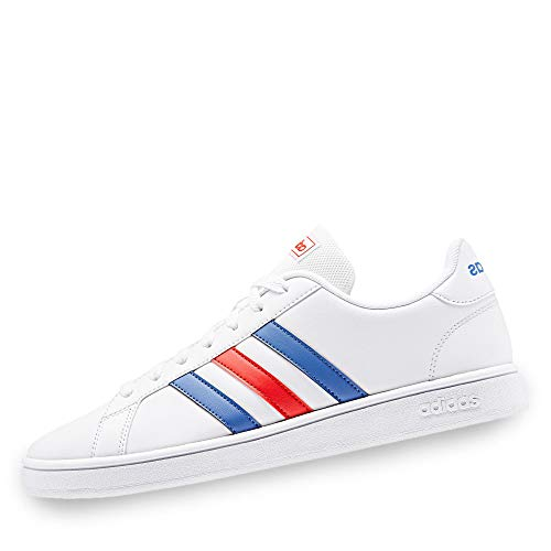 adidas Grand Court Base, Scarpe da Tennis Uomo, Ftwr White/Blue/Active Red, 40 EU