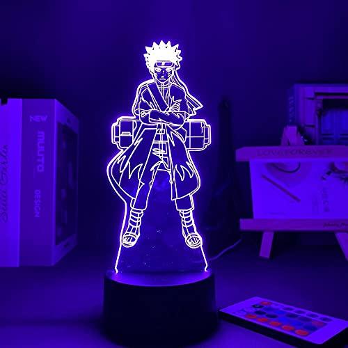 Lámpara de ilusión de Talbe de luz de noche Led 3D lámpara de acrílico de Anime Naruto para decoración de habitación del hogar ilustración infantil Base negra con control remoto